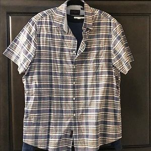 NWOT short sleeve button down checked pattern